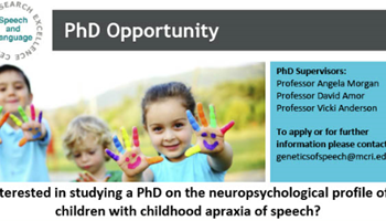 Interested in studying a PhD on the neuropsychological profile of children with childhood apraxia of speech?